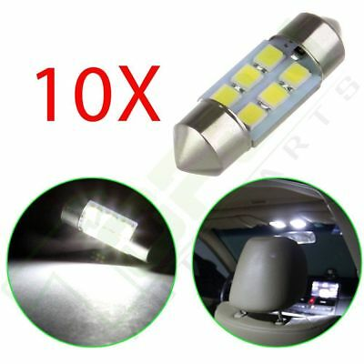 10x White 6SMD LED Courtesy Interior Light Bulb Festoon Dome Map Lamp 31mm 6428
