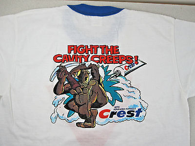 Vtg 80s CREST Toothpaste Cavity MONSTER T-Shirt Velva Sheen Sz M NOS Advertising