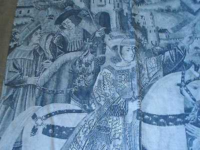 Antique Tapestry - Medieval Royalty - Castle, Horses, Noblemen Wall Hanging 8'