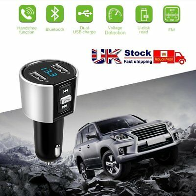 Wireless Bluetooth Car MP3 FM Transmitter Dual USB U Disk Charger Mic Voltmeter