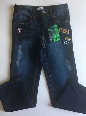 New Epic Threads Boy's size 7 Straight Slim Blue Jeans Patched Adjustable Waist