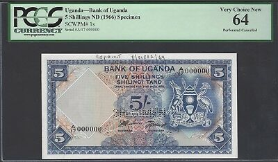 Uganda 5 Shillings ND(1966) P1s Specimen Uncirculated