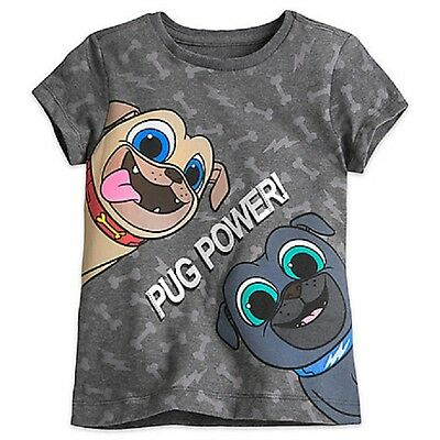 "Disney Store Puppy Dog Pals Girls Tee T-Shirt ""pug Power!"" Bingo & Rolly Nwt"