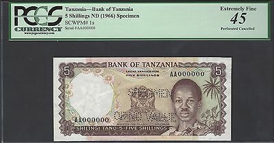 Tanzania 5 Shillings ND1966 P1s Specimen Perforated Extremely Fine