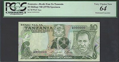 Tanzania 10 Shillings ND(1966) P6as Specimen Perforated Uncirculated