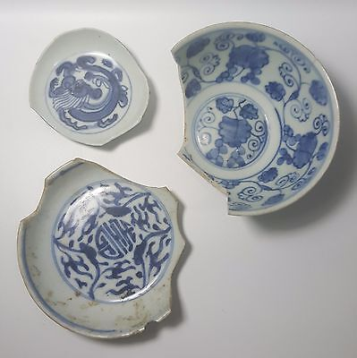 ( Rare Sample) 3pcs Ming Dynasty Blue and White Porcelain (River Found)