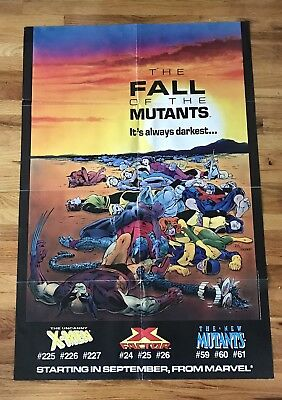 """1987 The Fall of the Mutants X-MEN Promo Comic Book Poster 32x22"""" 80's Marvel"""