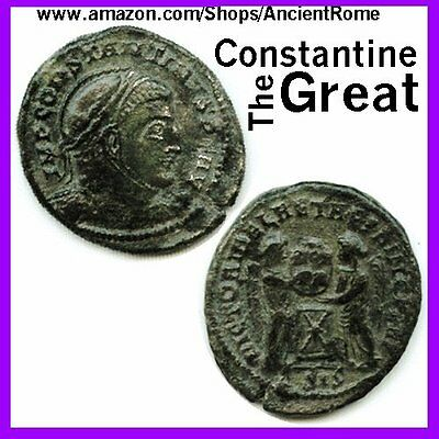 Coin Ancient House Constantine Great Bronze Imperial Roman Empire Dime Old Usa A