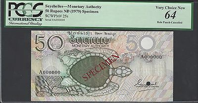 Seychelles 50 Rupees ND(1979)  P25s  Specimen  Uncirculated