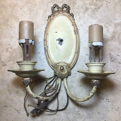 Antique Orig.Electric Detailed Wall Mount Sconce W/On&Off Turn Knob>Orig.Paint