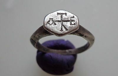 Late Roman to Byzantine Silver Ring Engraved with a Cruciform Monogram.5-8th.AD