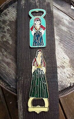 Vintage Pair Brass & Bronze Greek Woman Lady Bottle Openers Enamel Inlay Fronts