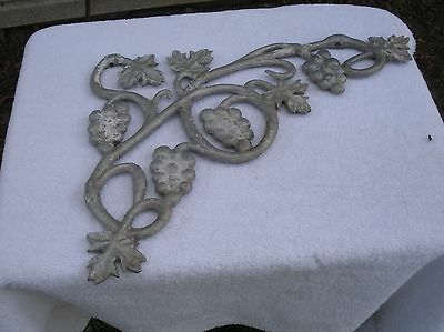 Three Vintage Cast Aluminum Architecture Salvage Grape & Vine Shelf Racks