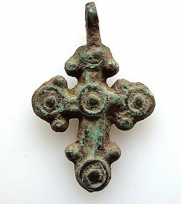 Byzantine small bronze cross,with round terminals.Pendant.9th-12th century AD.