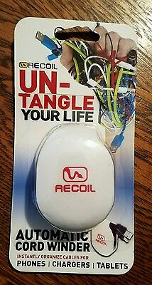 Recoil Un-Tangle Your life Automatic Cord Winder Phones Chargers Tablets New