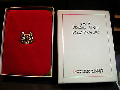 S-94:Singapore 1989 Sterling silver PROOF Set,c/w Certs, No 1600 in white box
