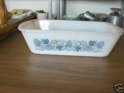 Retro White Loaf Pan/Ovenware-Blue Flowers Made In USA