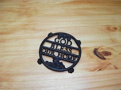 Old God Bless Our Home Footed Cast Iron Fancy Round Trivet Kitchenware USA