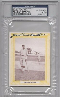 """James """"Cool Papa"""" Bell Psa/Dna Signed 1976 Douglas & Bell Card Autographed Mint."""