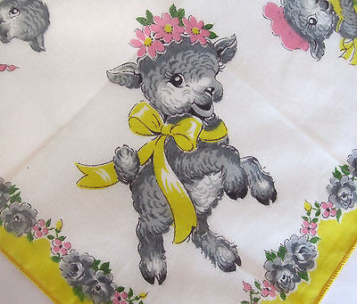 Vtg Child's Hankie NWT Little Lambs Yellow Pink Floral Busy Lamb Hanky PaperTag