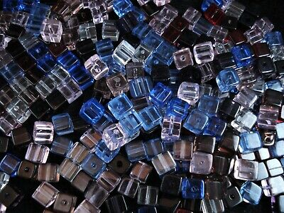 Glass Beads Cubes 8mm Mix 50pc Jewellery Jewelry Necklace FREE POSTAGE