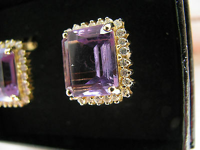 18ct Yellow Gold 52 Diamonds & 18.00cts 10.4g Amethysts Stud Earrings Stunning