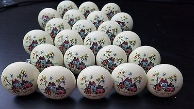 23 Vintage Ceramic Door Knobs With Small Houses