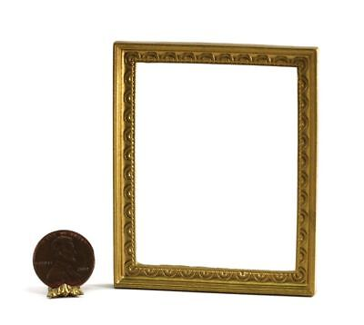Dollhouse Miniature Large Rectangular Gold Picture Frame with Scallop Design