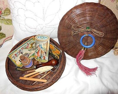 Antique Sewing Chinese Basket trade cards wooden spool needle packs