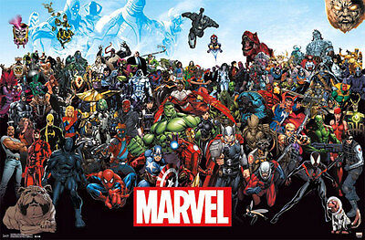 Marvel Characters Line-Up 34x22 inch Comics Poster Hulk Thor Iron Man Spider-Man