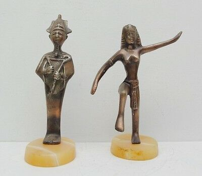 Pair of Art Deco Bronze Egyptian Statues Ancient Egypt Cleopatra King Tut Marble