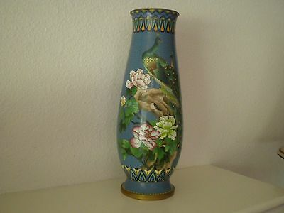 Gorgeous Antique Chinese  Cloisonné Vase With Peacocks & Flowers