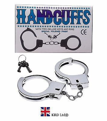 Novelty STEEL METAL HANDCUFFS + KEYS Handcuff Hen Stag Night Sex Aid Policeman