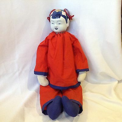 "Vintage Large 25"" Blue & White China~Porcelain~Head Asian Japanese Chinese Doll"