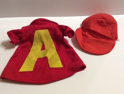 Vtg 1983 Alvin & The Chipmunks Letter A shirt & Hat  Replacement.  Doll Costume