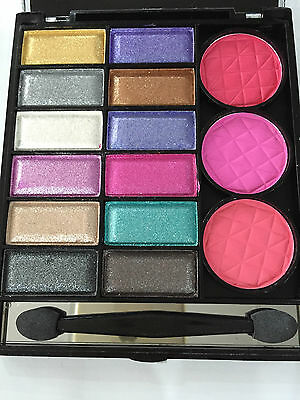 New 12 Colour Shimmer Eyeshadow/blush Compact Palette With Applicator & Mirror