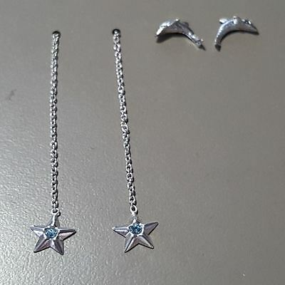 925 Sterling Silver Dolphin and Blue Star Earrings Set E088