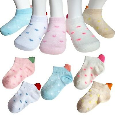 5 Pairs Toddlers Baby Girls Soft Cotton Crew Socks for 12-36 Months Infant To...