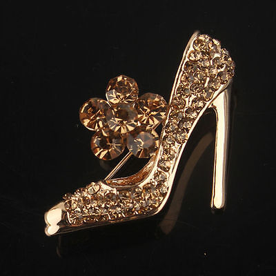 Beautiful Gold Plated Gold Crystal High Heel Statement Brooch
