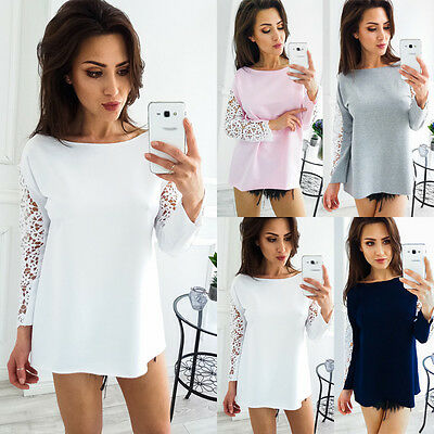 Fashion Women's Ladies Lace Long Sleeve Shirt Loose Casual Blouse Tops T-Shirt