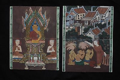 Set Antique Thailand Manuscript Painting from the 19th Century on book  -016