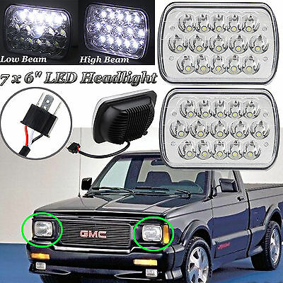 For GMC Sonoma 7x6 LED Headlights Crystal Clear Hi/Lo Sealed Beam Headlamp 2Pcs