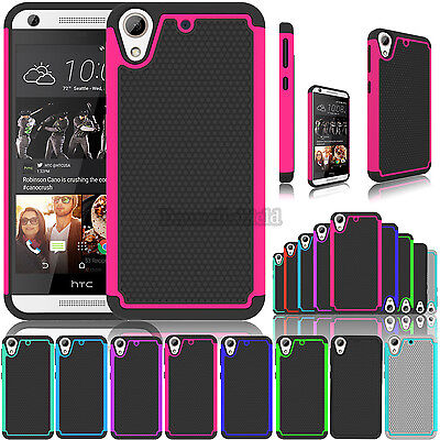 For HTC Desire 626 / 530 Hybrid Slim Rugged Rubber Hard Armor Impact Case Cover