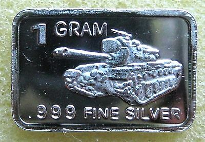 "Best Junk Drawer: 1 Gram .999 Solid Silver Bullion, Art-Bar "" US TANK """