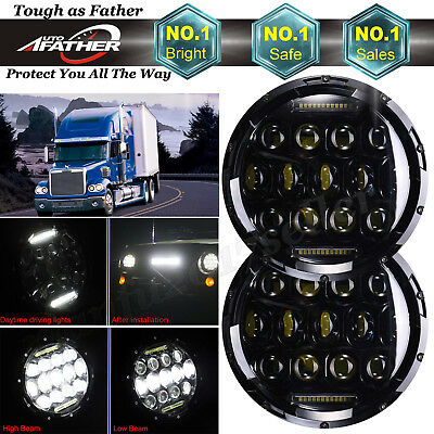 2Pcs 7Inch Round 150W Total LED Headlights Hi/Lo Beam For Freightliner Coronado