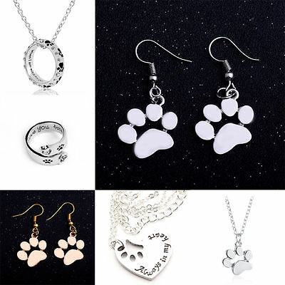 Cute Paw Print Pendant Necklace Dog Cat Pet Jewelry Silver Gold Ring Earring New
