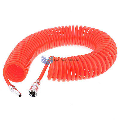 12 Meters Long Polyurethane Coiled Air Hose Pipe Orange 8mm x 5mm