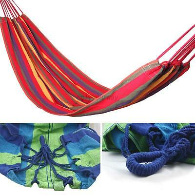 Portable 2 Person Hanging Hammock Cotton Rope Swing Camping Canvas Bed AU