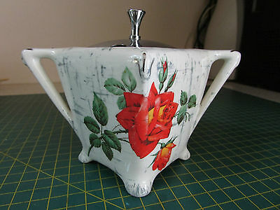 Midwinter Stylecraft Red Rose jam pot 11cm high Made In England Rose Marie RETRO