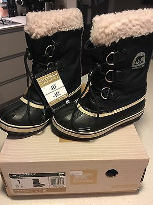 Kids Sorel Yoot Pac Snow Boot - Size 1 (USA), 13 (UK) Black New still in the box